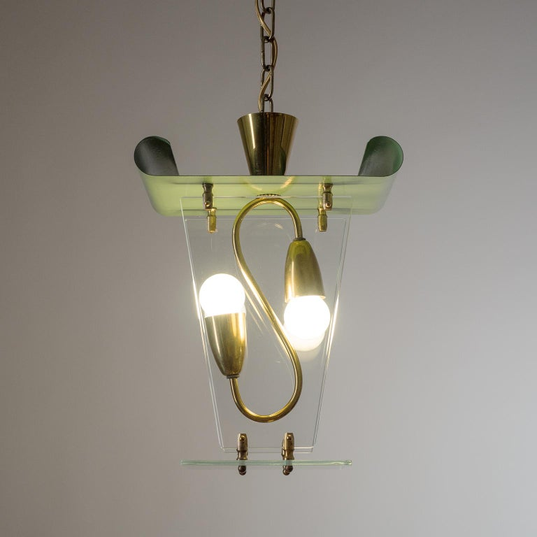Italian Lantern, 1940s, Brass and Glass For Sale 3
