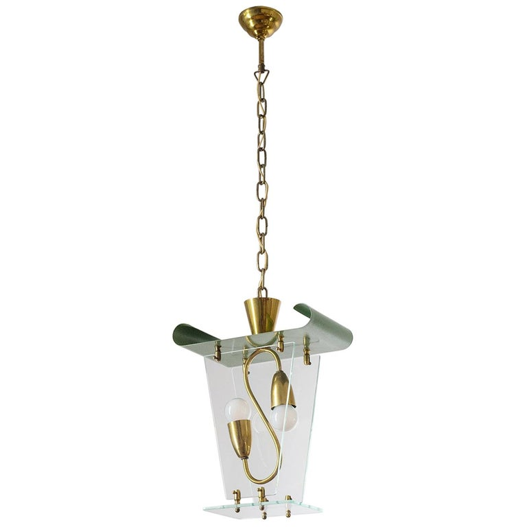 Italian Lantern, 1940s, Brass and Glass For Sale