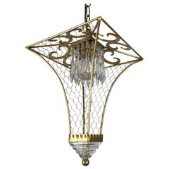 Italian Pagoda Lantern by Banci Firenze Leaf Gilded Iron Cage circa 1990