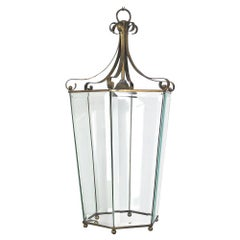Italian Lantern in Brass and Antique Glass, 1940s