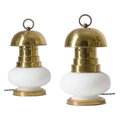 Italian Lantern Table Lamps, 1960s, Brass and Satin Glass