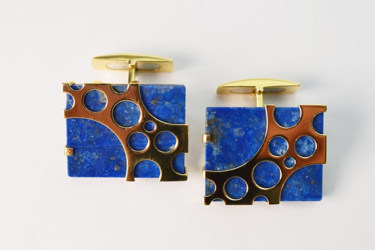 Square Cut Italian Lapis Lazuli Yellow Gold Cufflinks For Sale