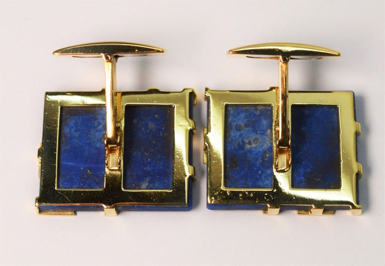 Italian Lapis Lazuli Yellow Gold Cufflinks In Good Condition For Sale In Mount Kisco, NY