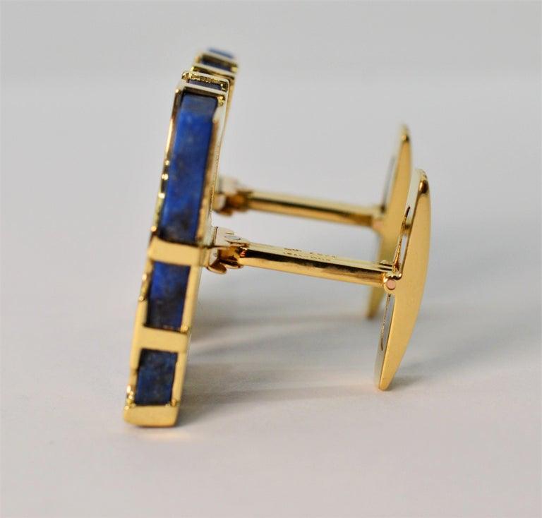 Women's or Men's Italian Lapis Lazuli Yellow Gold Cufflinks For Sale