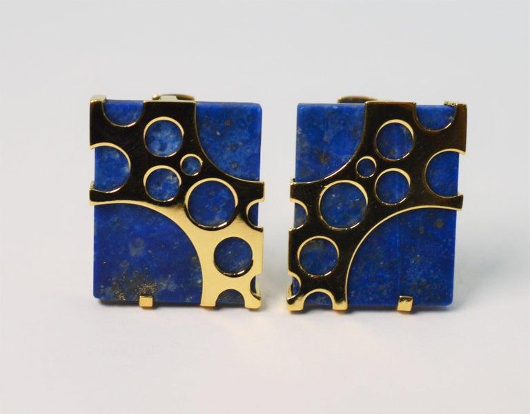 Italian Lapis Lazuli Yellow Gold Cufflinks For Sale 1