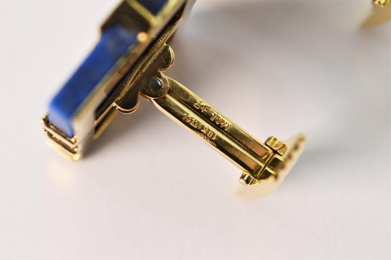 Italian Lapis Lazuli Yellow Gold Cufflinks For Sale 2