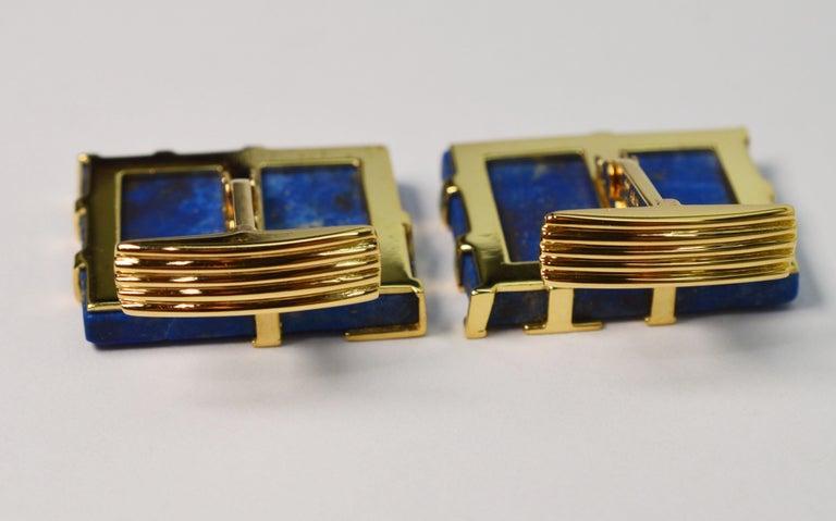 Italian Lapis Lazuli Yellow Gold Cufflinks For Sale 3