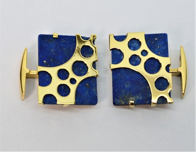 Italian Lapis Lazuli Yellow Gold Cufflinks For Sale 4