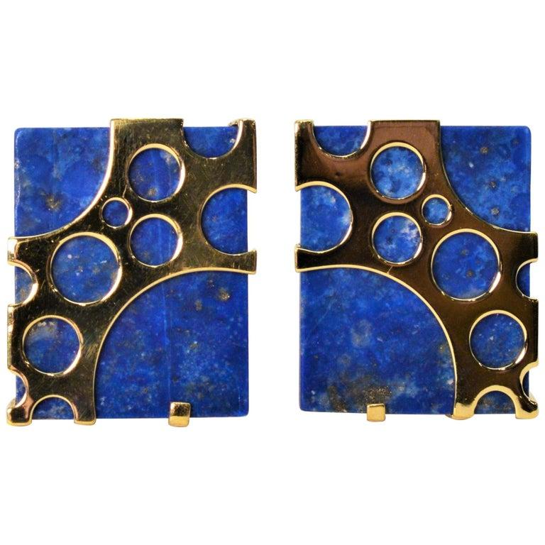 Italian Lapis Lazuli Yellow Gold Cufflinks For Sale