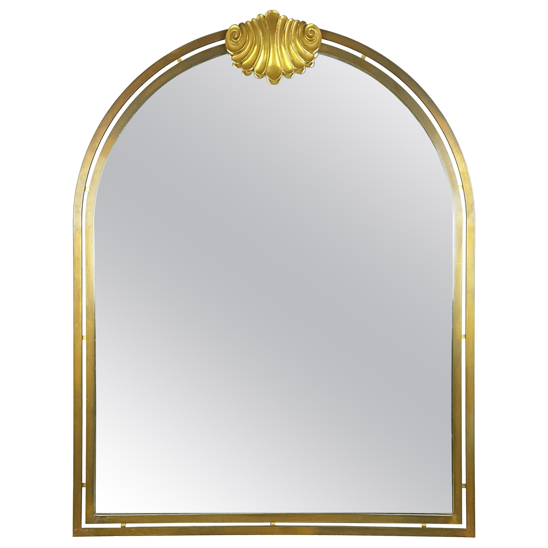 Italian Large Brass & Mirrored Glass 1970s Wall Mirror