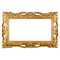Italian Large Carved Wooden Frame, Italy, 18th Century, Mirror Gilded Baroque