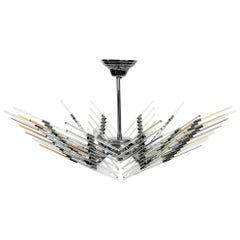 Italian Large Chrome Ceiling Lamp with Long Iridescent Glass Rods from the 1980s