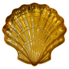 Italian Large Clam Shell Bowl in Brass