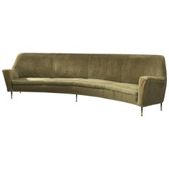 Italian Large Curved Sofa in Green Fabric