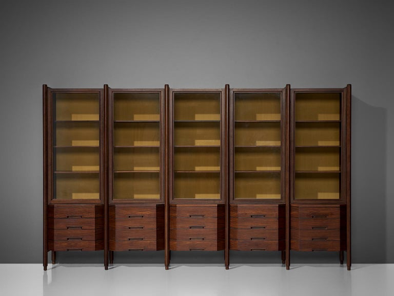 Mid-Century Modern Italian Large Five Sectioned Cabinet in Rosewood, 1960s For Sale