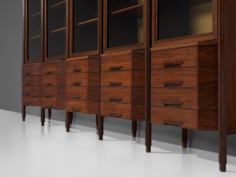Glass Italian Large Five Sectioned Cabinet in Rosewood, 1960s For Sale