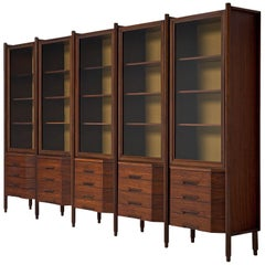 Italian Large Five Sectioned Cabinet in Rosewood, 1960s