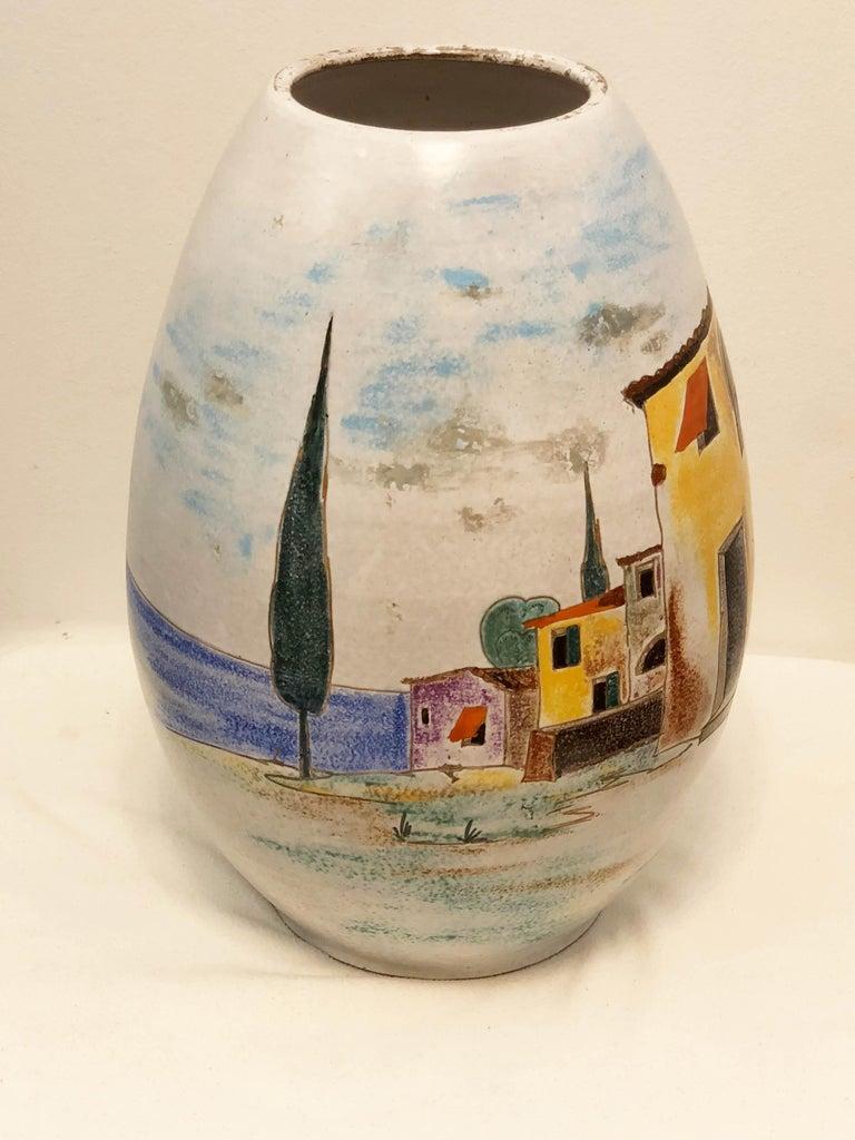 Ceramic Italian Large Floor Vase For Sale