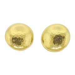 Italian Large Hammered Gold Disc Earrings
