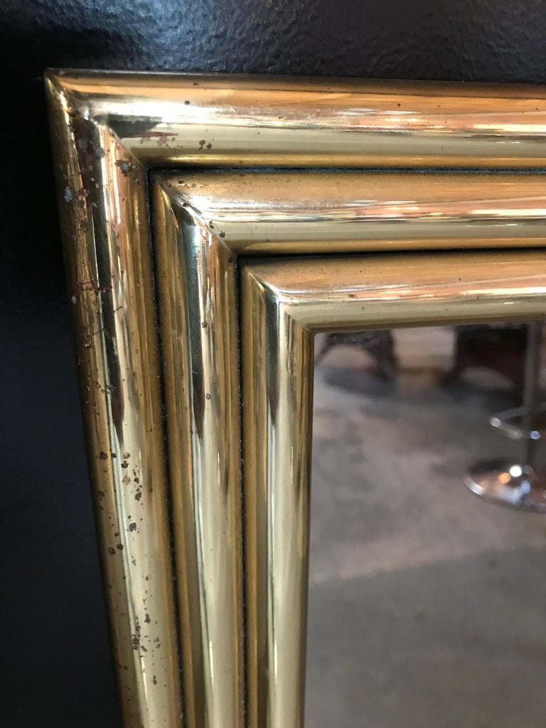 Hand-Crafted Italian Large Midcentury Mirror with Brass Surround For Sale