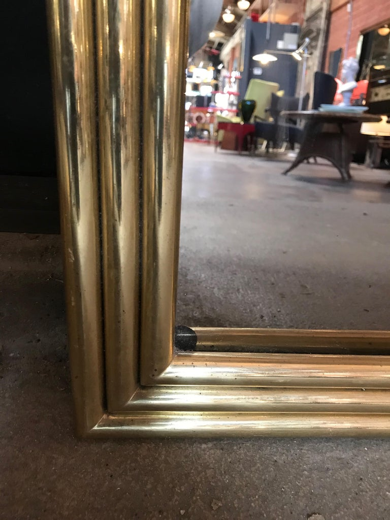 Italian Large Midcentury Mirror with Brass Surround In Good Condition For Sale In Los Angeles, CA