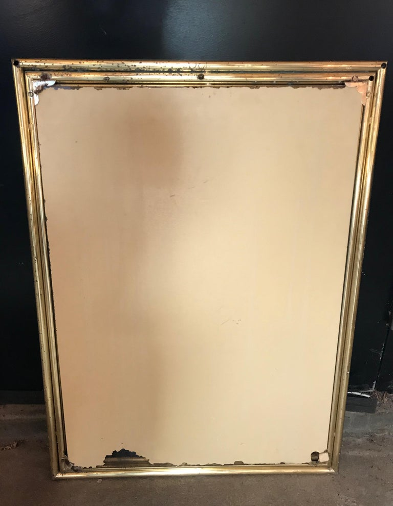 Italian Large Midcentury Mirror with Brass Surround For Sale 1