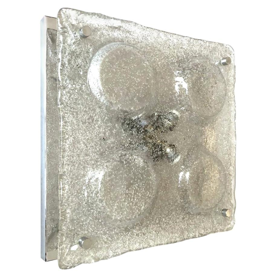 Italian Large Midcentury Clear Murano Wall Sconce by Mazzega, 1970s