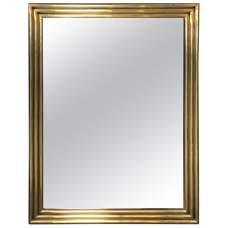 Italian Large Midcentury Mirror with Brass Surround For Sale