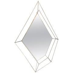 Italian Large Rhomboidal Sculptural Wall Mirror in Brass