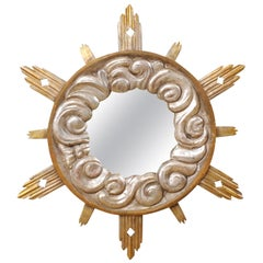 Italian 4 Ft Tall Cloudy Ray Sunburst Mirror in Gold & Silver, 19th Century