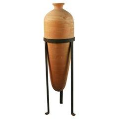 Italian Large Terracotta Urn Set in a Metal Base 1940