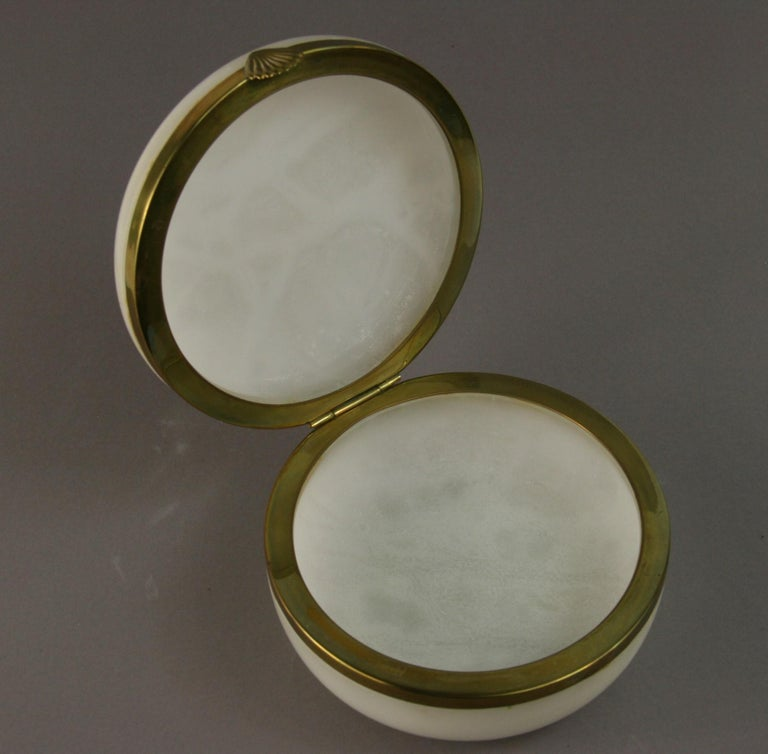 Brass Italian Large White Alabaster Trinket Box For Sale