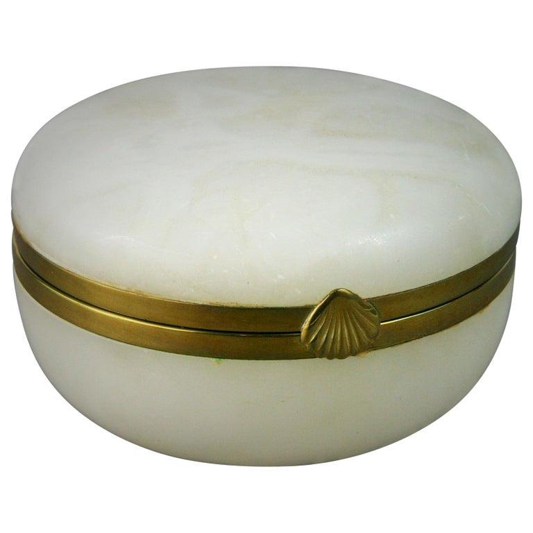 Italian Large White Alabaster Trinket Box For Sale