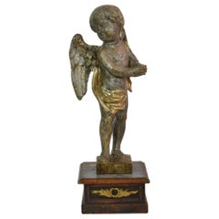Italian Late 18th Century Carved Wooden Angel