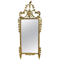 Italian Late 18th Century Louis XVI Carved and Gilt Wooden Mirror