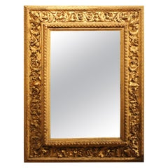 Italian Louis XVI Style Rectangular Hand Carved Gilt Wood Frame with Mirror