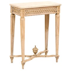 Italian Late 18th Century Slender Carved-Wood Side Table with Marble Top