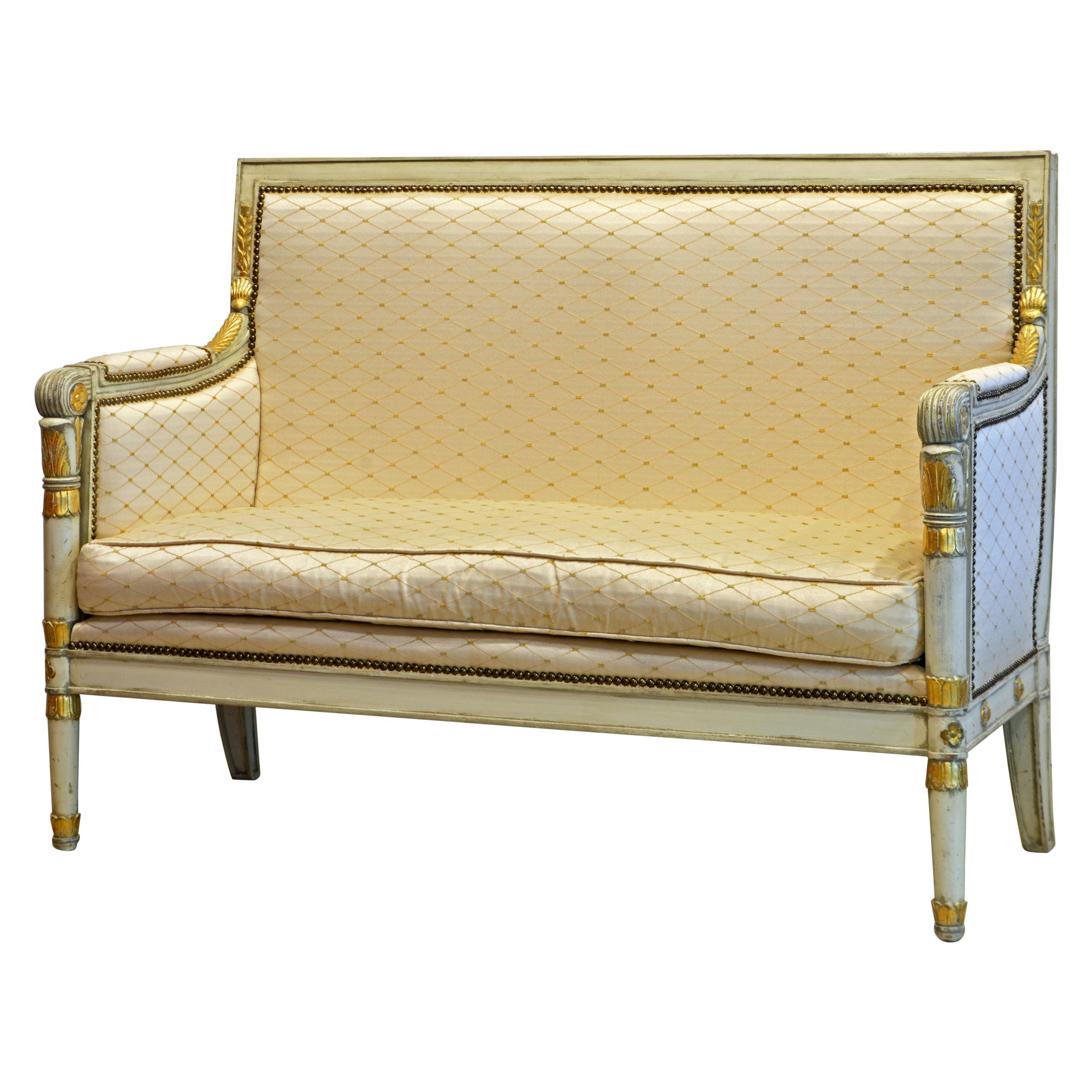 Italian Late 19th C Neoclassical Style Ivory White and Parcel Gilt Carved Settee