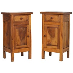 Italian Late 19th Century Country Nightstands in Solid Walnut, Polished to Wax
