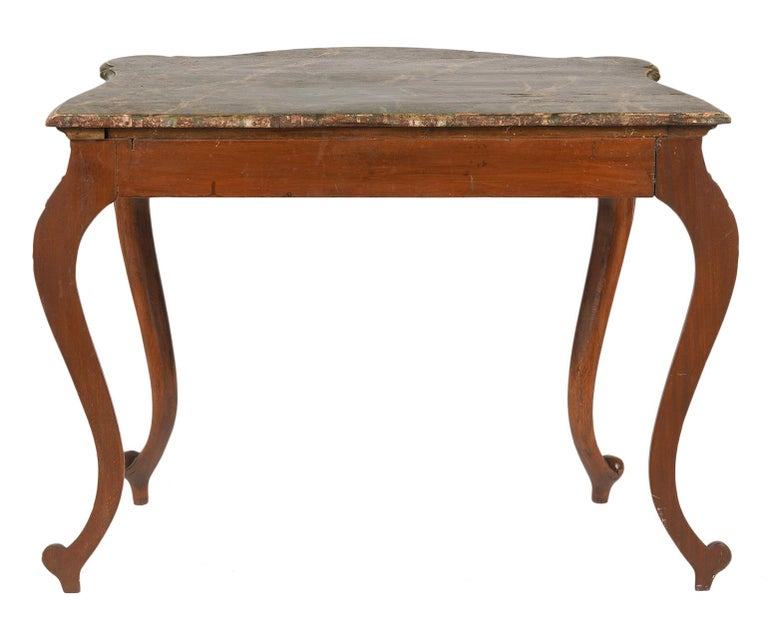 Hand-Carved Italian Late 19th Century Marbleized Top Louis XV Style Carved Console Table For Sale
