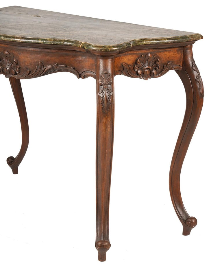 Italian Late 19th Century Marbleized Top Louis XV Style Carved Console Table In Good Condition For Sale In Ft. Lauderdale, FL