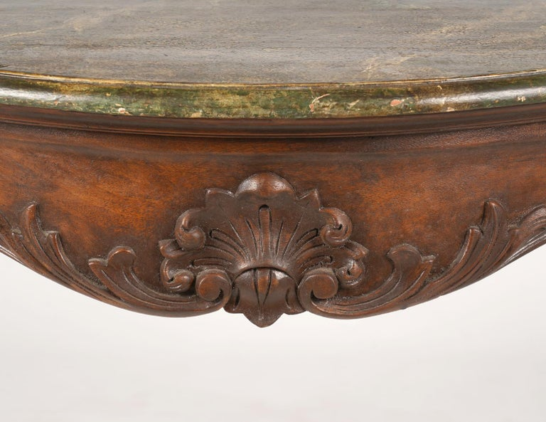 Walnut Italian Late 19th Century Marbleized Top Louis XV Style Carved Console Table For Sale