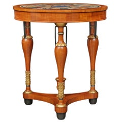 Italian Late 19th Century Neoclassical St. Mahogany Marble Specimen Side Table