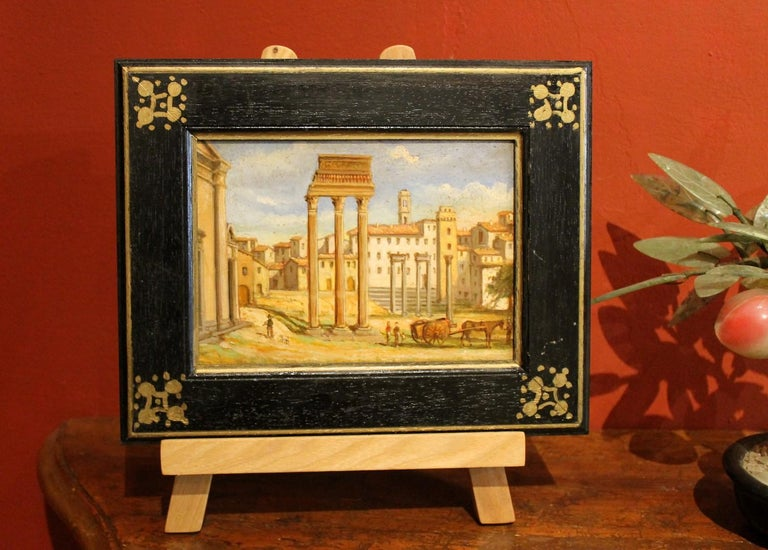 Italian Late 19th Century Oil on Board Classical Roman Ruins Landscape Painting For Sale 2