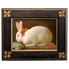 Italian Late 19th Century Oil on Board Still Life Painting with a Bunny