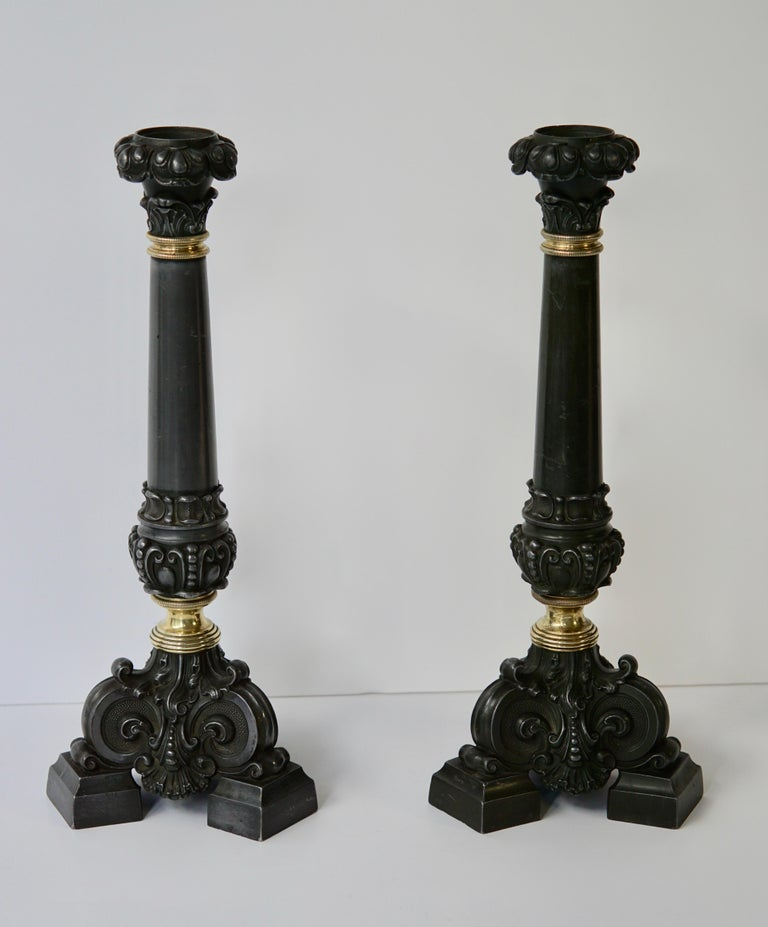 Italian Late 19th Century Pair of Antique Brass Candleholders For Sale 5