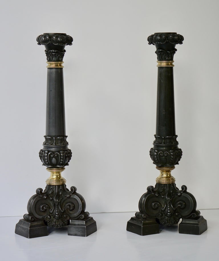 Italian Late 19th Century Pair of Antique Brass Candleholders For Sale 6