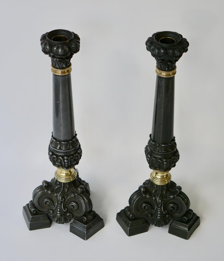 Hollywood Regency Italian Late 19th Century Pair of Antique Brass Candleholders For Sale