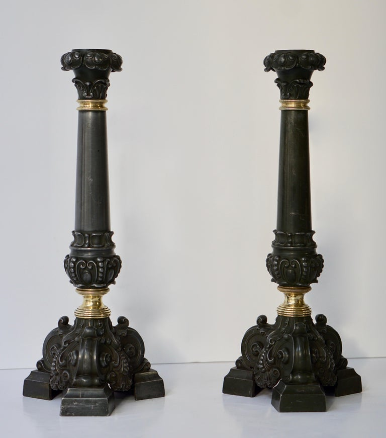 Metal Italian Late 19th Century Pair of Antique Brass Candleholders For Sale