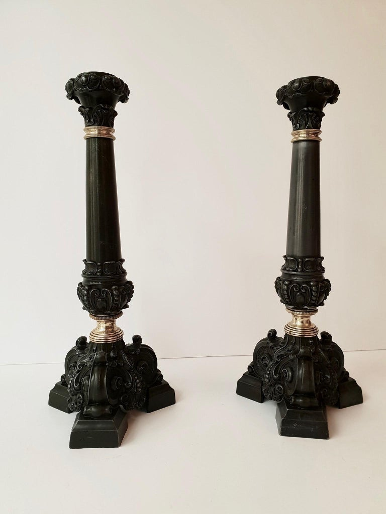 Italian Late 19th Century Pair of Antique Brass Candleholders For Sale 2